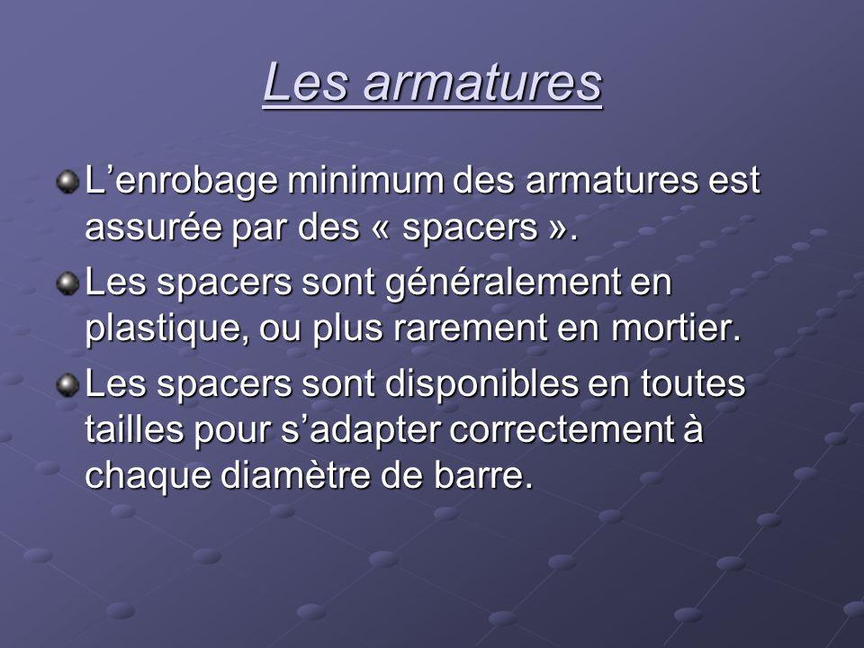 Lenrobage minimum des armatures est assurée par des « spacers ». Les spacers sont généralement en plastique, ou plus rarement en mortier. Les spacers