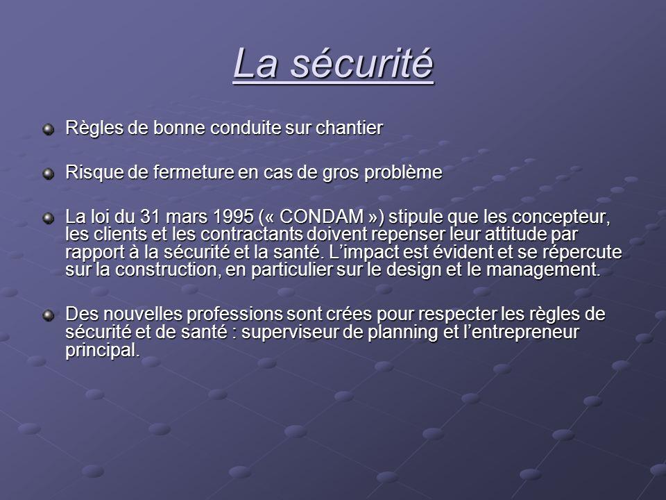 La sécurité Règles de bonne conduite sur chantier Risque de fermeture en cas de gros problème La loi du 31 mars 1995 (« CONDAM ») stipule que les conc