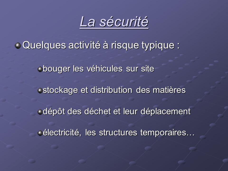 La sécurité Quelques activité à risque typique : bouger les véhicules sur site stockage et distribution des matières dépôt des déchet et leur déplacem