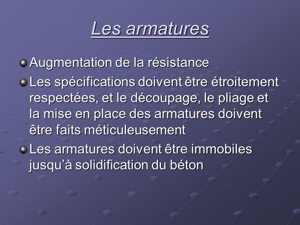 Les armatures Augmentation de la résistance Les spécifications doivent être étroitement respectées, et le découpage, le pliage et la mise en place des