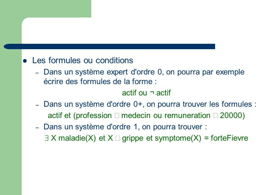 Les formules ou conditions – Dans un système expert d ordre 0, on pourra par exemple écrire des formules de la forme : actif ou ¬ actif – Dans un système d ordre 0+, on pourra trouver les formules : actif et (profession medecin ou remuneration 20000) – Dans un système d ordre 1, on pourra trouver : X maladie(X) et X grippe et symptome(X) = forteFievre