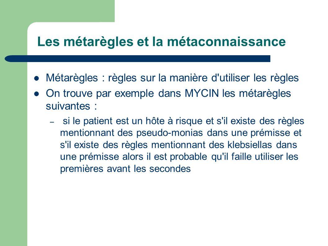Les métarègles et la métaconnaissance Métarègles : règles sur la manière d'utiliser les règles On trouve par exemple dans MYCIN les métarègles suivant