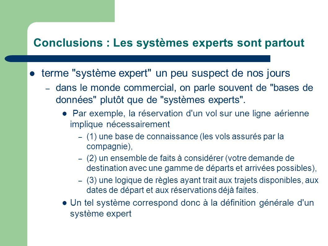 Conclusions : Les systèmes experts sont partout terme système expert un peu suspect de nos jours – dans le monde commercial, on parle souvent de bases de données plutôt que de systèmes experts .
