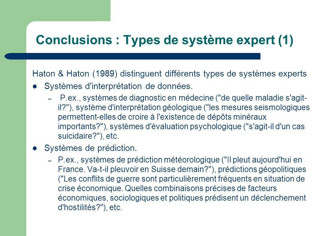 Conclusions : Types de système expert (1) Haton & Haton (1989) distinguent différents types de systèmes experts Systèmes d'interprétation de données.
