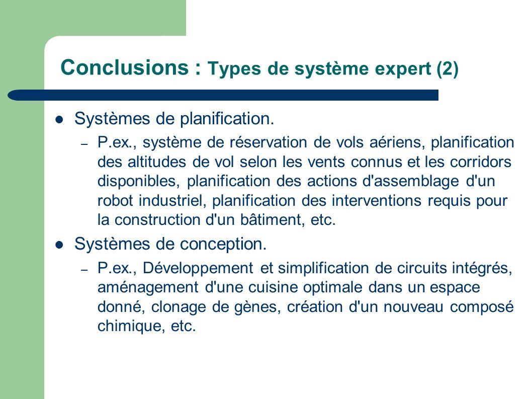 Conclusions : Types de système expert (2) Systèmes de planification. – P.ex., système de réservation de vols aériens, planification des altitudes de v