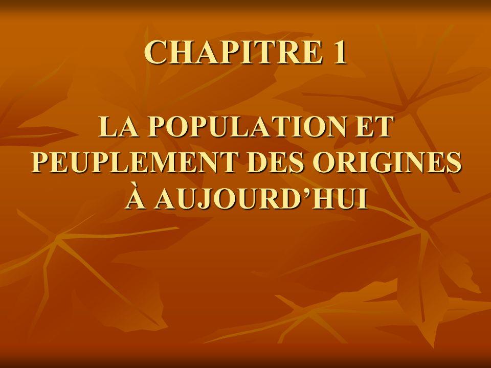 CHAPITRE 1 LA POPULATION ET PEUPLEMENT DES ORIGINES À AUJOURDHUI