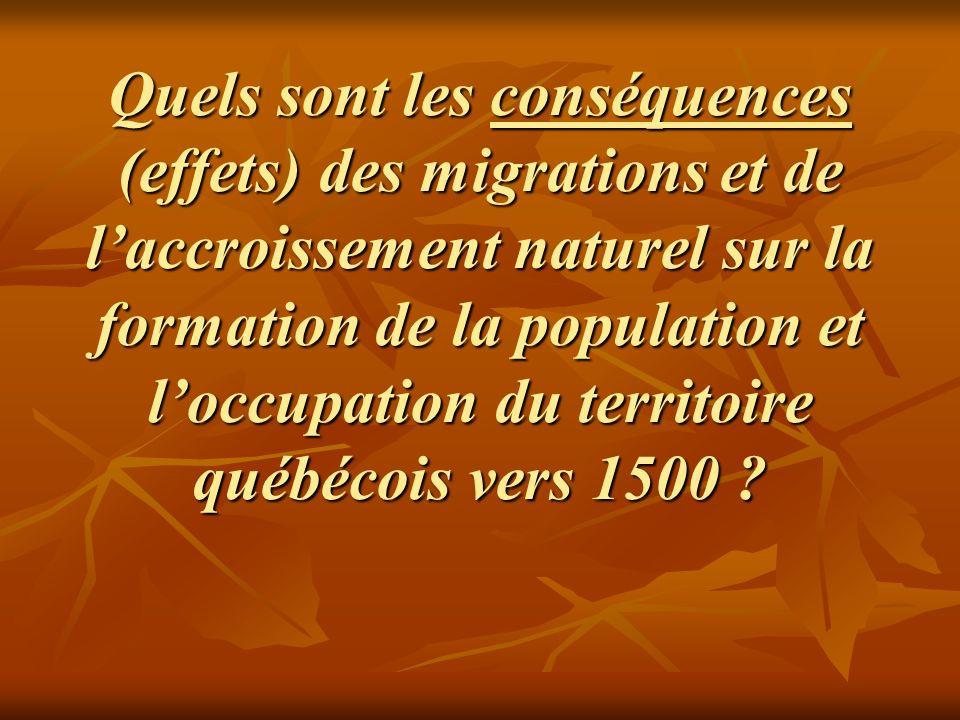 Quels sont les conséquences (effets) des migrations et de laccroissement naturel sur la formation de la population et loccupation du territoire québéc