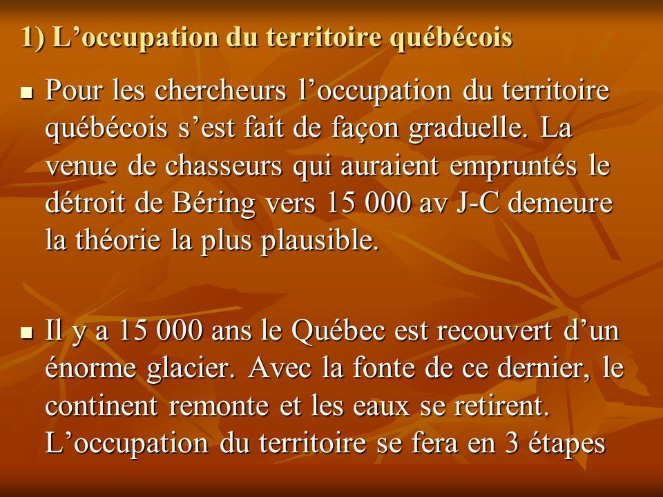 1) Loccupation du territoire québécois Pour les chercheurs loccupation du territoire québécois sest fait de façon graduelle. La venue de chasseurs qui