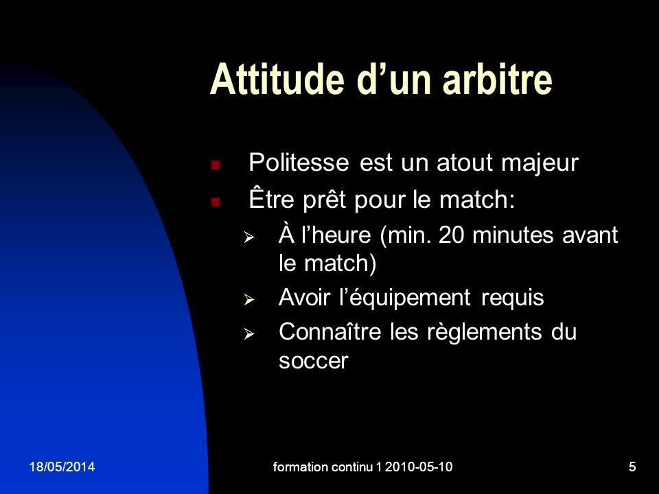 18/05/2014formation continu 1 2010-05-105 Attitude dun arbitre Politesse est un atout majeur Être prêt pour le match: À lheure (min.