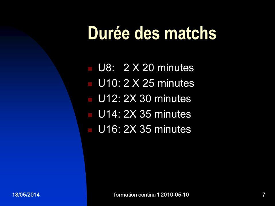 18/05/2014formation continu 1 2010-05-107 Durée des matchs U8: 2 X 20 minutes U10: 2 X 25 minutes U12: 2X 30 minutes U14: 2X 35 minutes U16: 2X 35 minutes