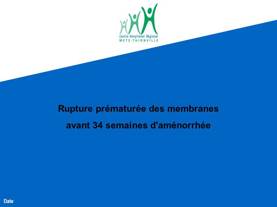 Rupture prématurée des membranes avant 34 semaines d'aménorrhée Date
