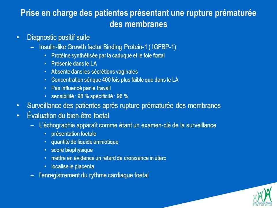 Prise en charge des patientes présentant une rupture prématurée des membranes Diagnostic positif suite –Insulin-like Growth factor Binding Protein-1 (