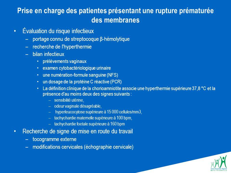 Prise en charge des patientes présentant une rupture prématurée des membranes Évaluation du risque infectieux –portage connu de streptocoque β-hémolyt