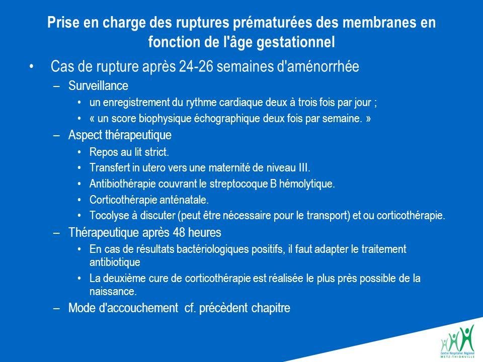 Prise en charge des ruptures prématurées des membranes en fonction de l'âge gestationnel Cas de rupture après 24-26 semaines d'aménorrhée –Surveillanc