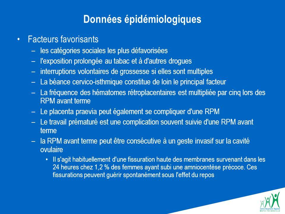Complications de la rupture prématurée des membranes avant terme La RPM avant terme peut entraîner quatre catégories de complications : la survenue d une prématurité, l infection, des complication funiculaires et placentaires des conséquences liées à une rupture très précoce.