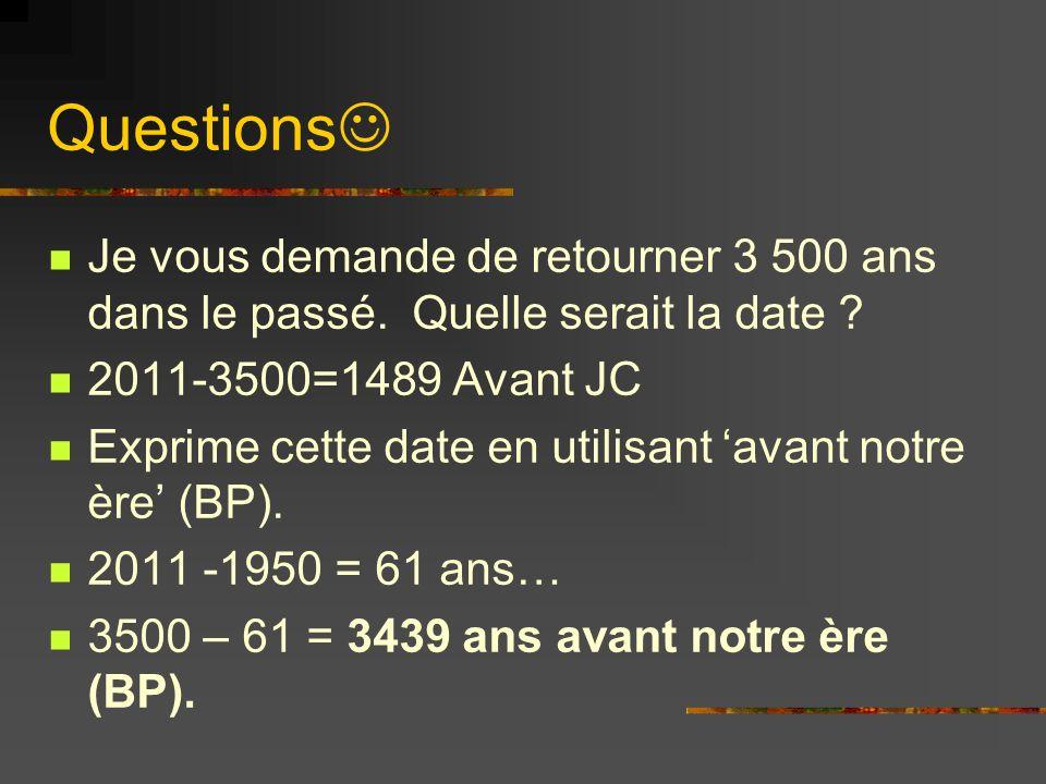 Questions Si un échantillon dun os date à 11 500 ans Avant Notre Ère et plus tard on réévalue la date à 12 500 Avant Notre Ère, los est-il plus jeune