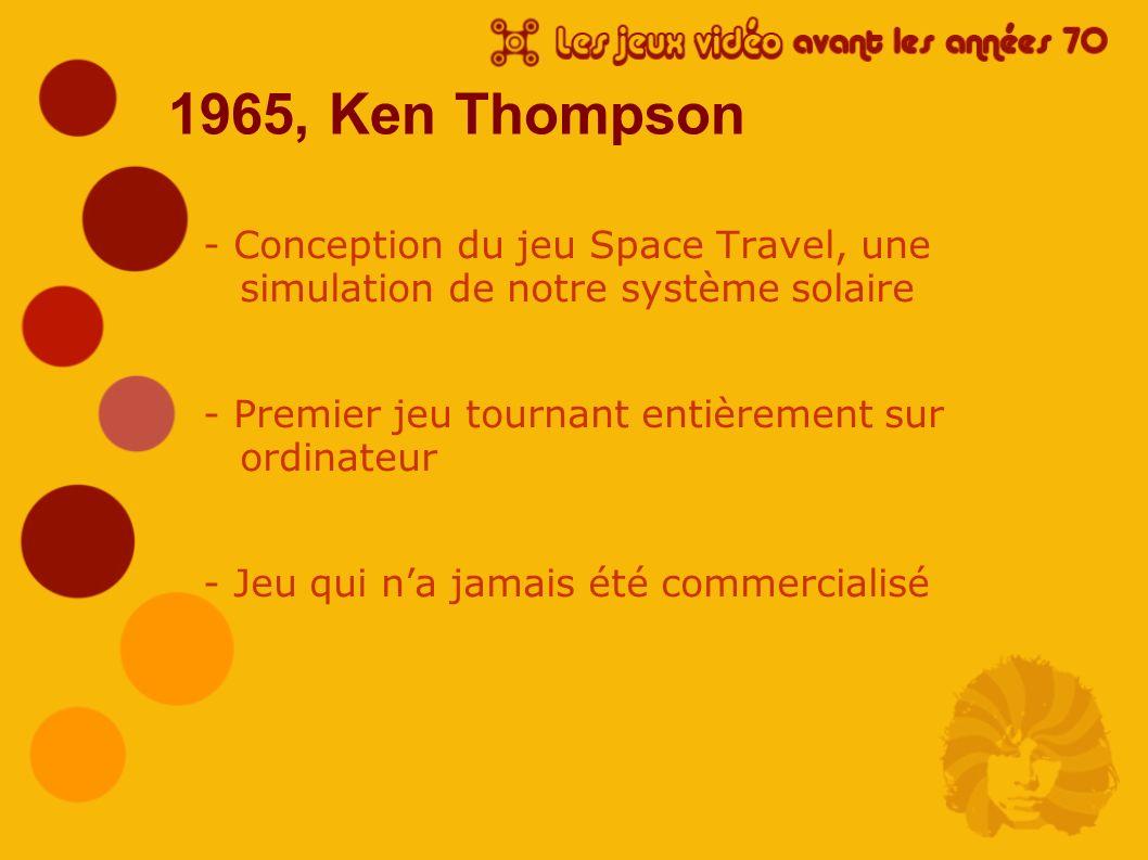 1965, Ken Thompson - Conception du jeu Space Travel, une simulation de notre système solaire - Premier jeu tournant entièrement sur ordinateur - Jeu q