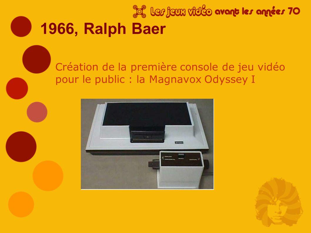 1966, Ralph Baer Création de la première console de jeu vidéo pour le public : la Magnavox Odyssey I