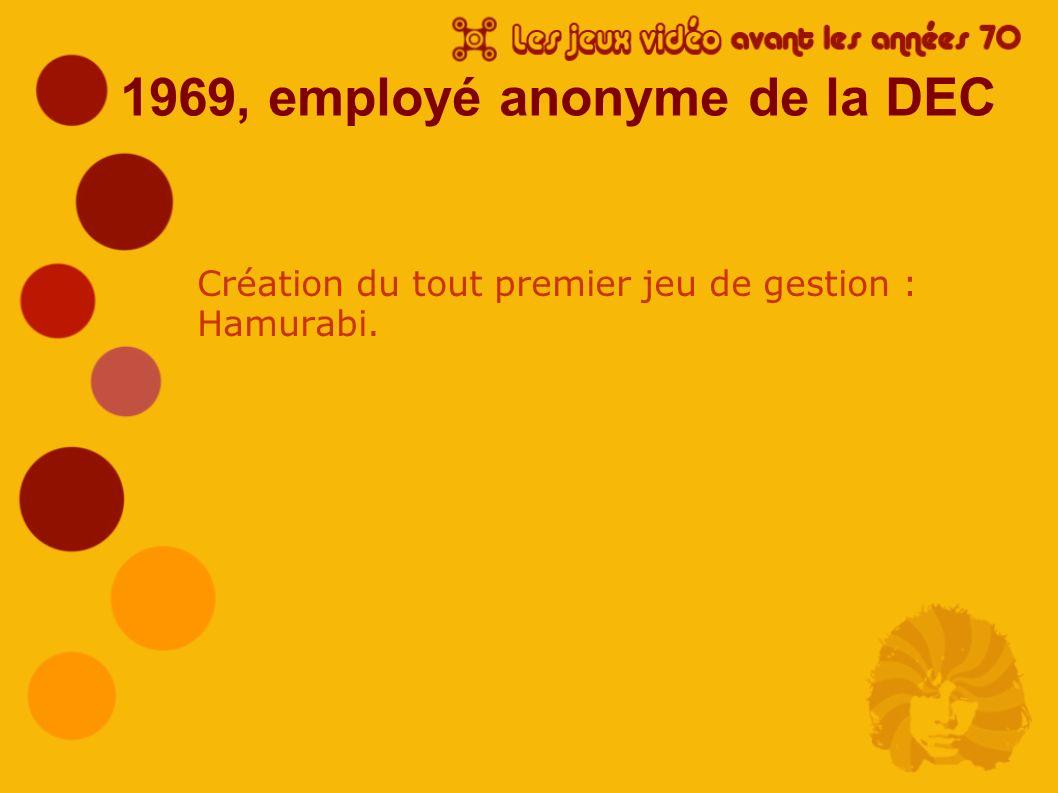 1969, employé anonyme de la DEC Création du tout premier jeu de gestion : Hamurabi.