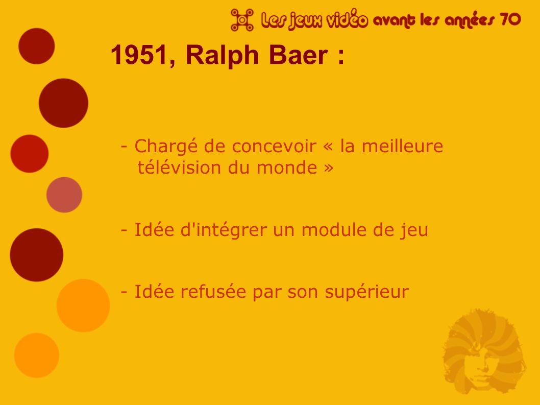 1951, Ralph Baer : - Chargé de concevoir « la meilleure télévision du monde » - Idée d'intégrer un module de jeu - Idée refusée par son supérieur