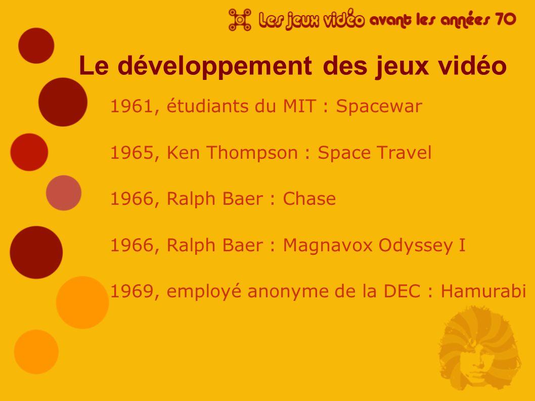 Le développement des jeux vidéo 1961, étudiants du MIT : Spacewar 1965, Ken Thompson : Space Travel 1966, Ralph Baer : Chase 1966, Ralph Baer : Magnav