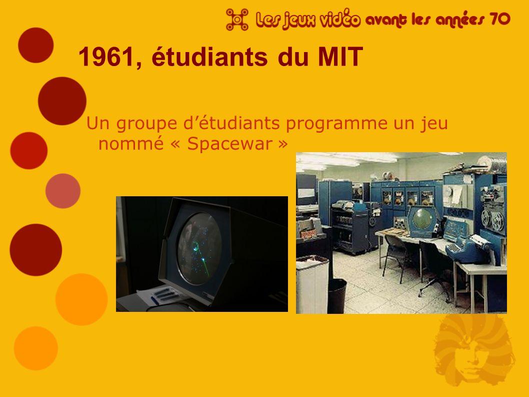 1961, étudiants du MIT Un groupe détudiants programme un jeu nommé « Spacewar »