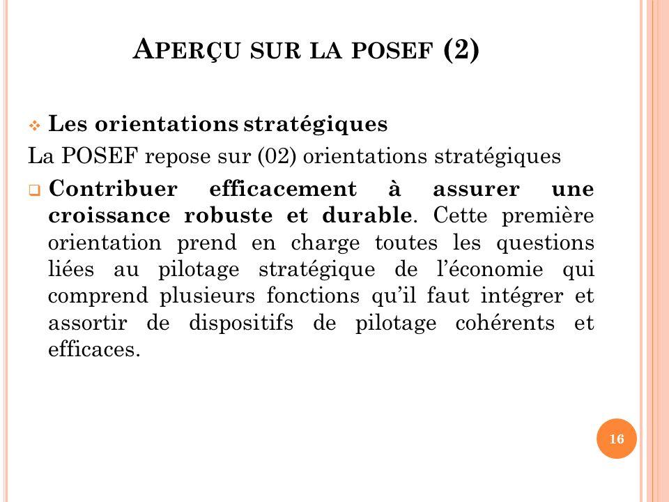 Les orientations stratégiques La POSEF repose sur (02) orientations stratégiques Contribuer efficacement à assurer une croissance robuste et durable.