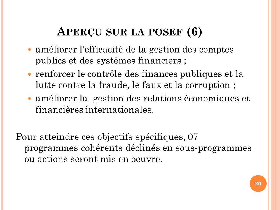 A PERÇU SUR LA POSEF (6) améliorer lefficacité de la gestion des comptes publics et des systèmes financiers ; renforcer le contrôle des finances publi