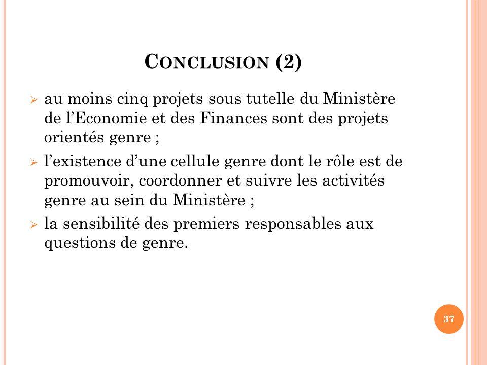 C ONCLUSION (2) au moins cinq projets sous tutelle du Ministère de lEconomie et des Finances sont des projets orientés genre ; lexistence dune cellule