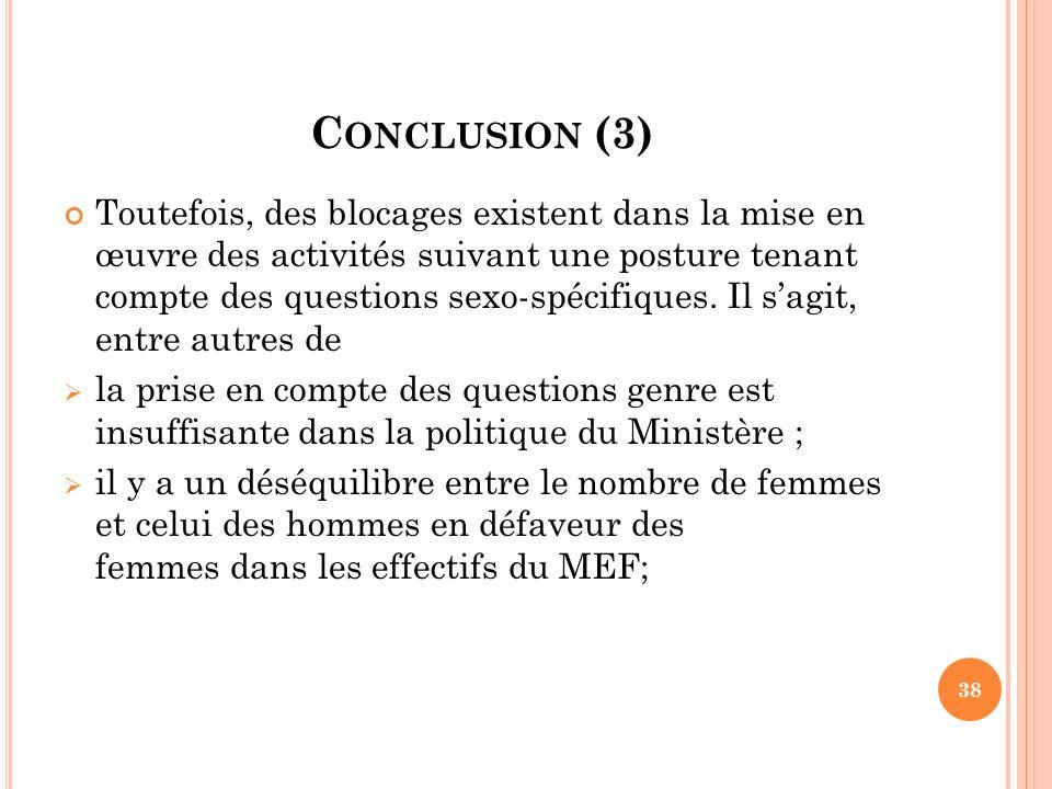C ONCLUSION (3) Toutefois, des blocages existent dans la mise en œuvre des activités suivant une posture tenant compte des questions sexo-spécifiques.