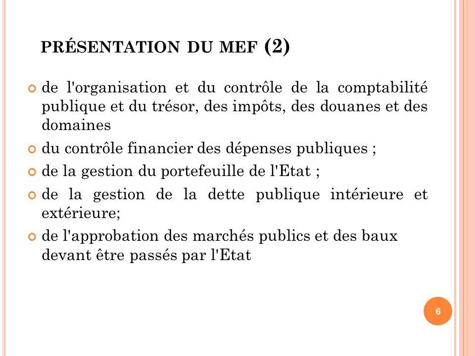 PRÉSENTATION DU MEF (2) de l'organisation et du contrôle de la comptabilité publique et du trésor, des impôts, des douanes et des domaines du contrôle