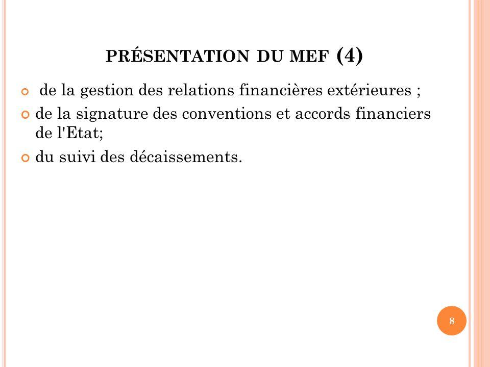 PRÉSENTATION DU MEF (4) de la gestion des relations financières extérieures ; de la signature des conventions et accords financiers de l'Etat; du suiv