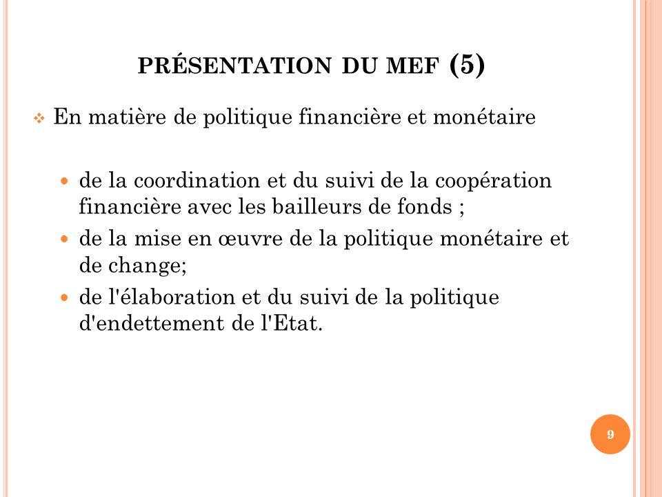 PRÉSENTATION DU MEF (6) En matière domaniale et foncière de la conservation de la propriété foncière rurale ; de la gestion du patrimoine immobilier de l Etat ; de l élaboration de la réglementation en matière domaniale et foncière.
