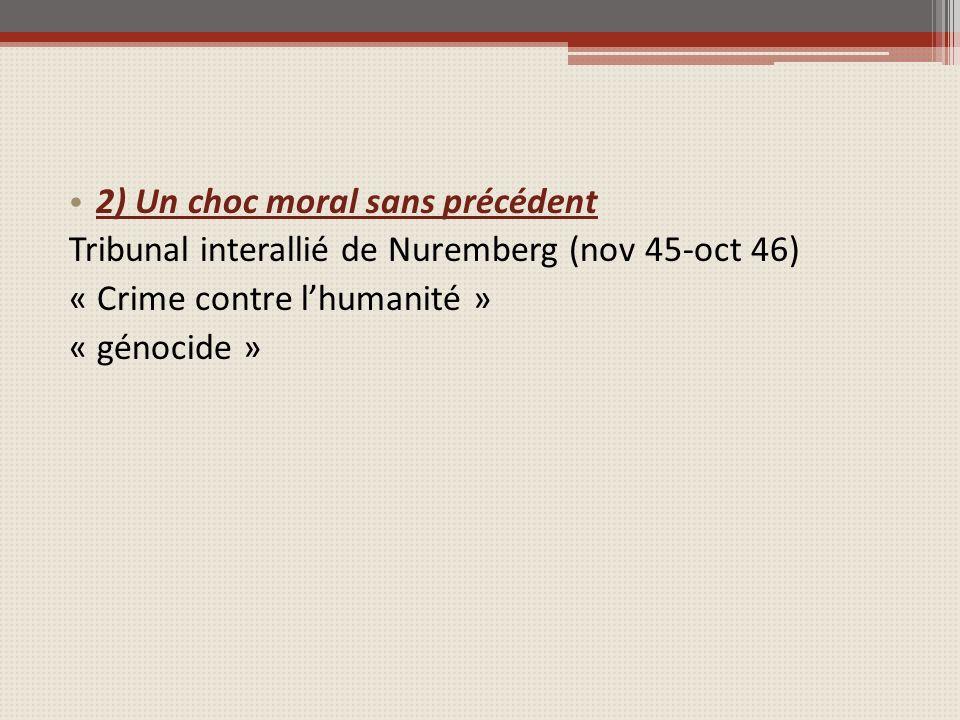 2) Un choc moral sans précédent Tribunal interallié de Nuremberg (nov 45-oct 46) « Crime contre lhumanité » « génocide »