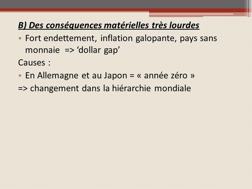 B) Des conséquences matérielles très lourdes Fort endettement, inflation galopante, pays sans monnaie => dollar gap Causes : En Allemagne et au Japon = « année zéro » => changement dans la hiérarchie mondiale