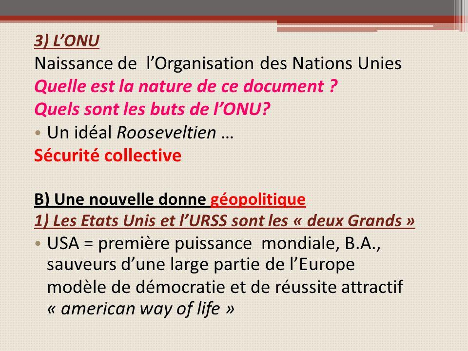 3) LONU Naissance de lOrganisation des Nations Unies Quelle est la nature de ce document .