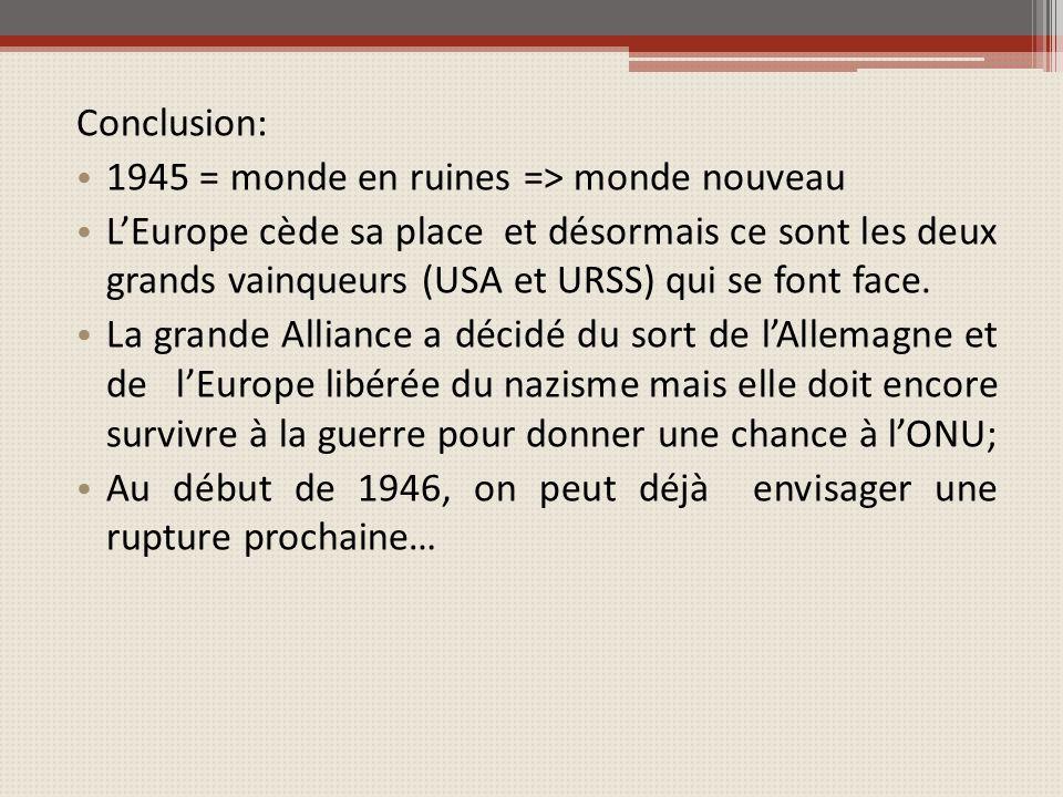 Conclusion: 1945 = monde en ruines => monde nouveau LEurope cède sa place et désormais ce sont les deux grands vainqueurs (USA et URSS) qui se font face.