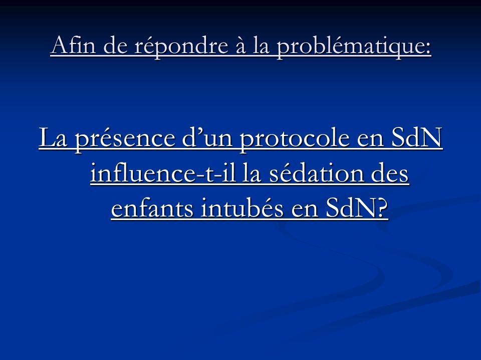 Afin de répondre à la problématique: La présence dun protocole en SdN influence-t-il la sédation des enfants intubés en SdN?