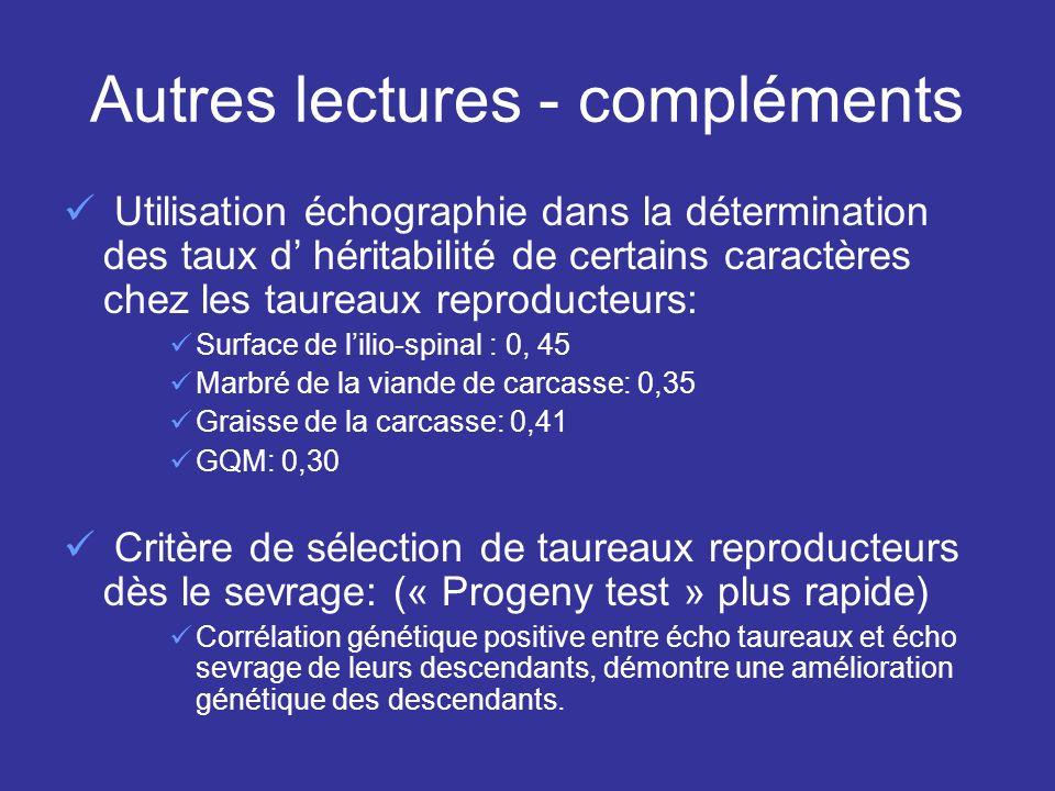 Autres lectures - compléments Utilisation échographie dans la détermination des taux d héritabilité de certains caractères chez les taureaux reproduct