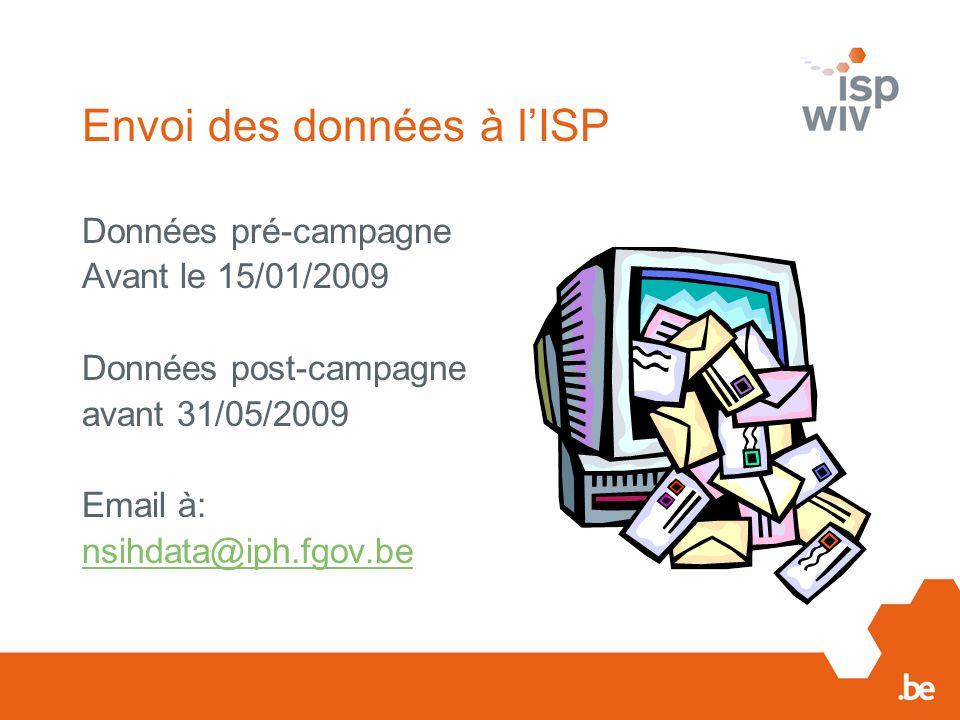 Envoi des données à lISP Données pré-campagne Avant le 15/01/2009 Données post-campagne avant 31/05/2009 Email à: nsihdata@iph.fgov.be