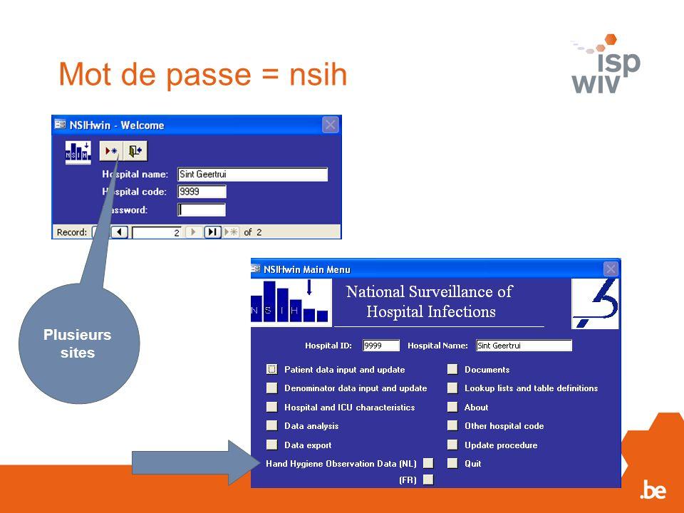 Mot de passe = nsih Plusieurs sites