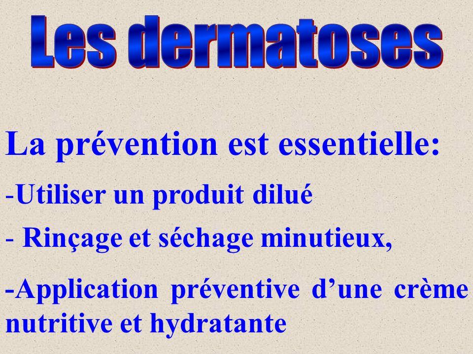 La prévention est essentielle: -Utiliser un produit dilué - Rinçage et séchage minutieux, -Application préventive dune crème nutritive et hydratante