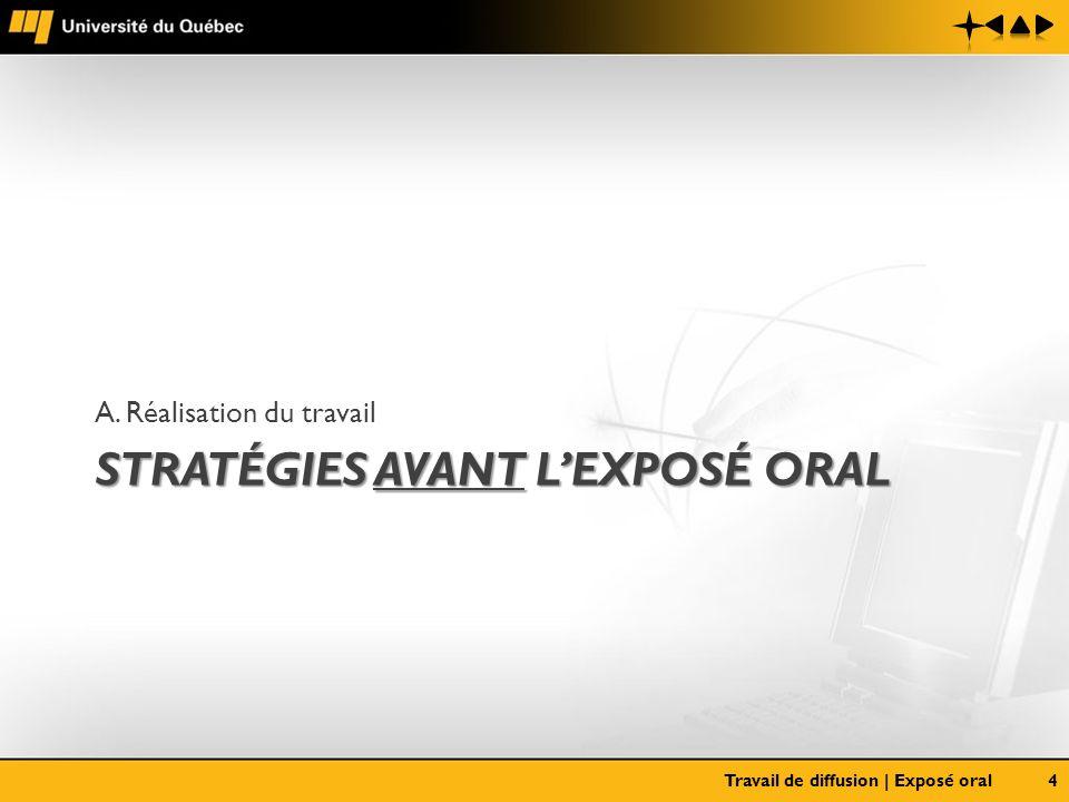 STRATÉGIES AVANT LEXPOSÉ ORAL A. Réalisation du travail Travail de diffusion | Exposé oral4