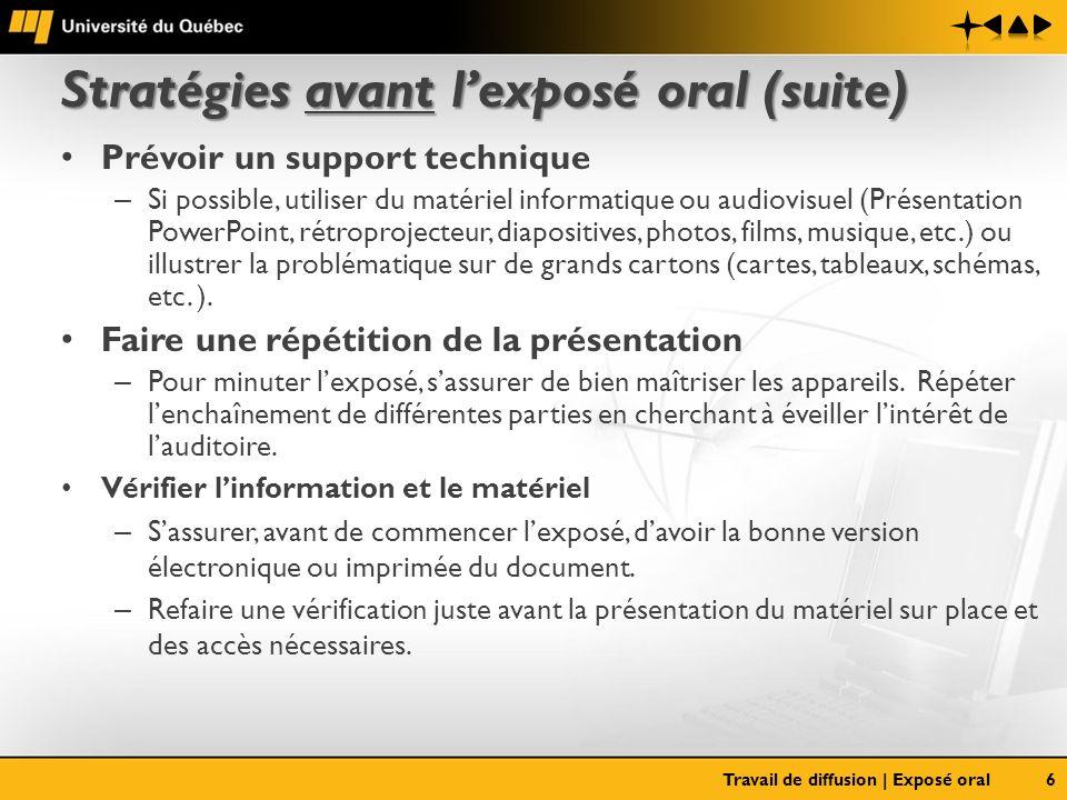 Stratégies avant lexposé oral (suite) Prévoir un support technique – Si possible, utiliser du matériel informatique ou audiovisuel (Présentation Power