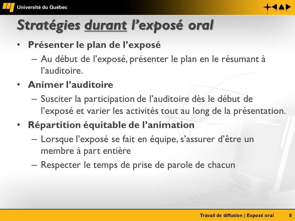 Stratégies durant lexposé oral Présenter le plan de lexposé – Au début de lexposé, présenter le plan en le résumant à lauditoire. Animer lauditoire –