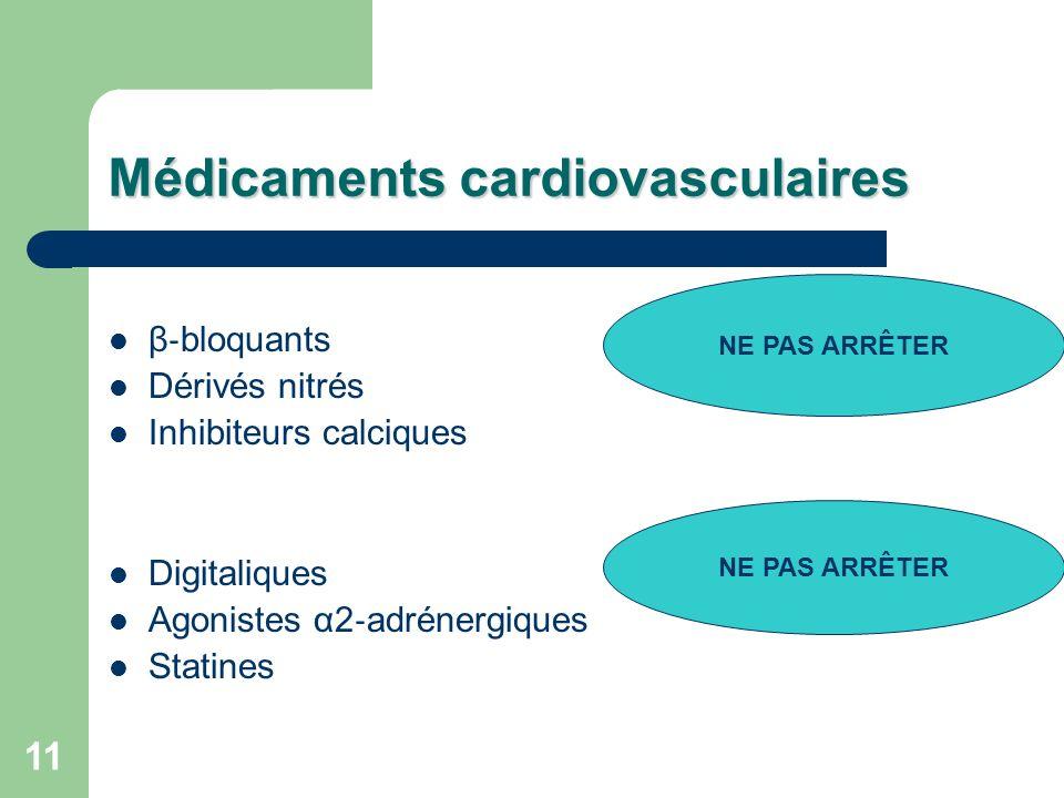 11 Médicaments cardiovasculaires β bloquants Dérivés nitrés Inhibiteurs calciques Digitaliques Agonistes α2 adrénergiques Statines NE PAS ARRÊTER