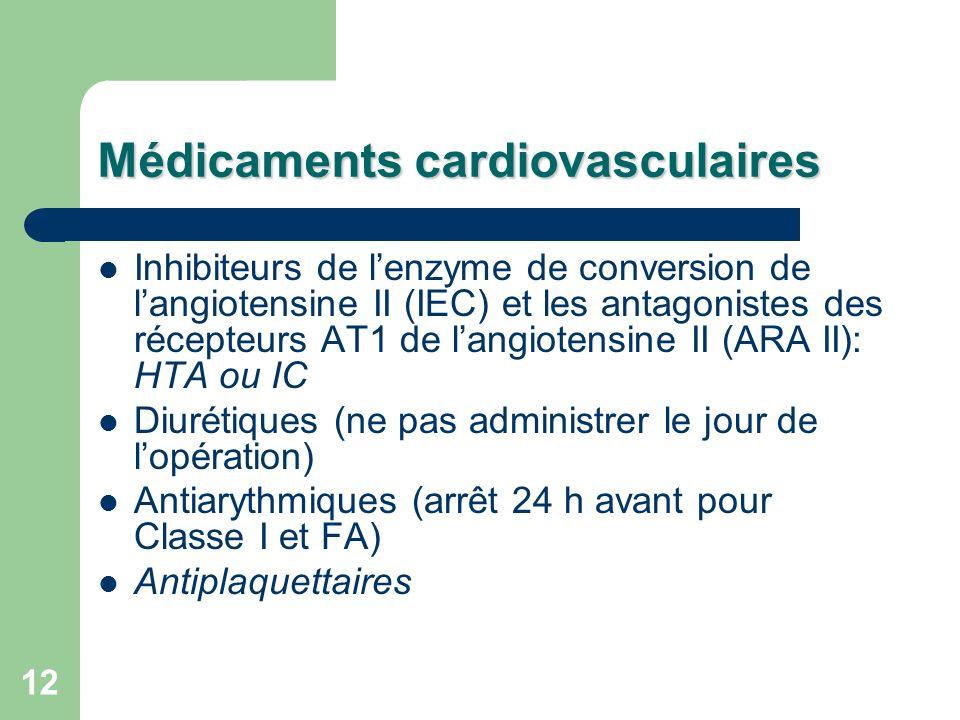 12 Médicaments cardiovasculaires Inhibiteurs de lenzyme de conversion de langiotensine II (IEC) et les antagonistes des récepteurs AT1 de langiotensine II (ARA II): HTA ou IC Diurétiques (ne pas administrer le jour de lopération) Antiarythmiques (arrêt 24 h avant pour Classe I et FA) Antiplaquettaires