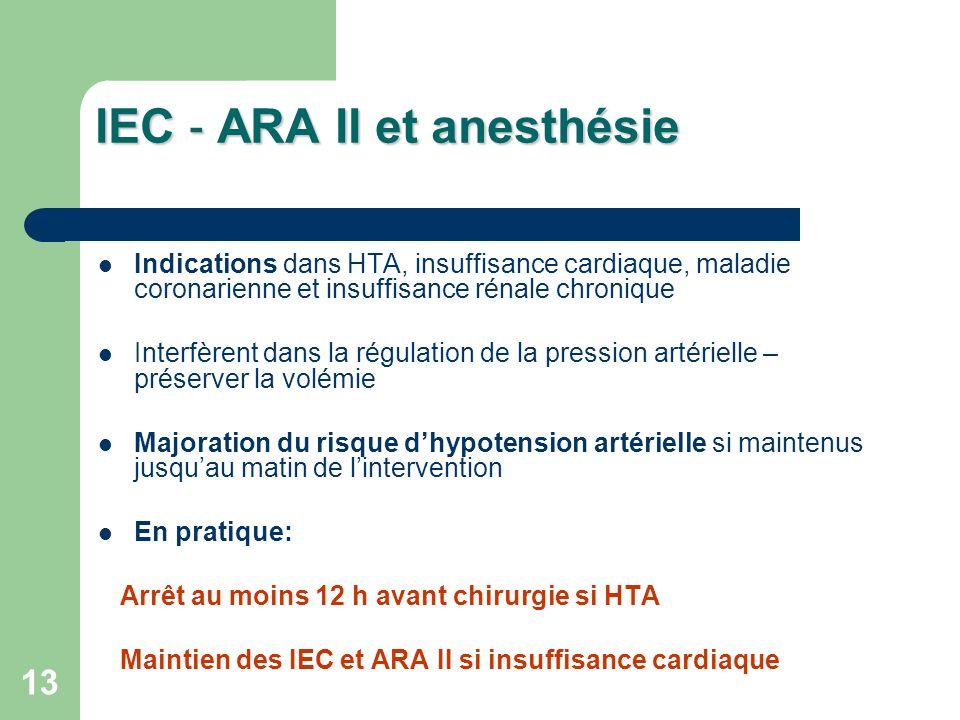 13 IEC ARA II et anesthésie Indications dans HTA, insuffisance cardiaque, maladie coronarienne et insuffisance rénale chronique Interfèrent dans la régulation de la pression artérielle – préserver la volémie Majoration du risque dhypotension artérielle si maintenus jusquau matin de lintervention En pratique: Arrêt au moins 12 h avant chirurgie si HTA Maintien des IEC et ARA II si insuffisance cardiaque