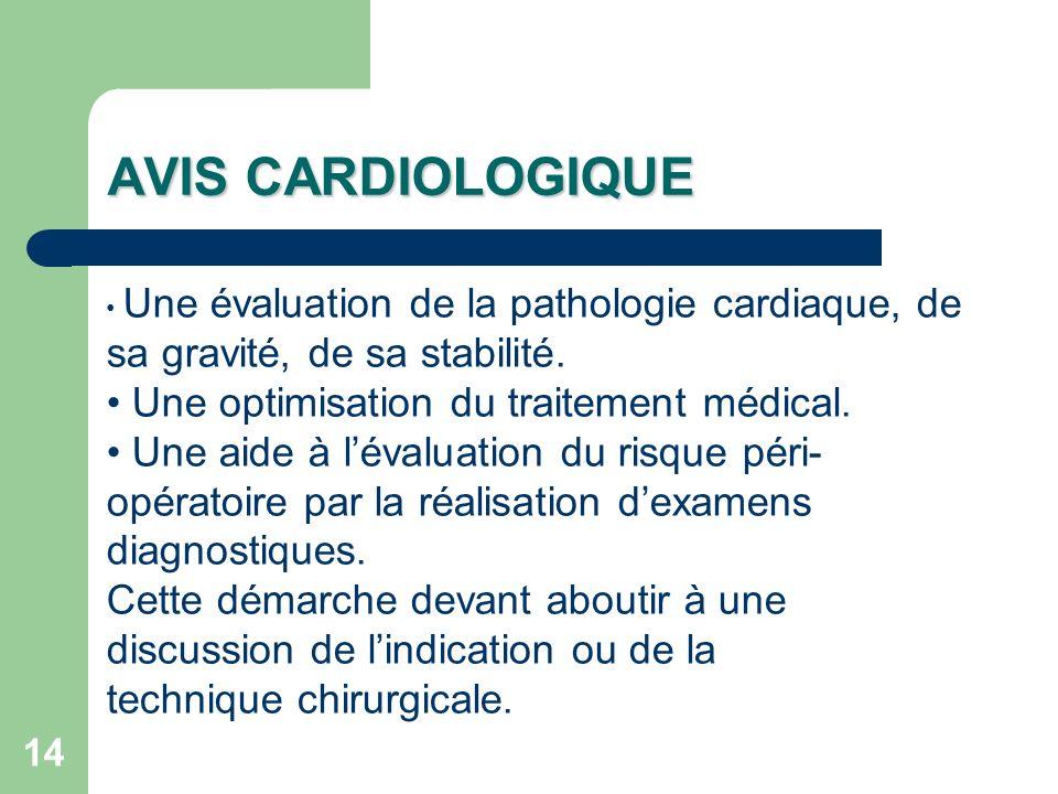 14 Une évaluation de la pathologie cardiaque, de sa gravité, de sa stabilité.