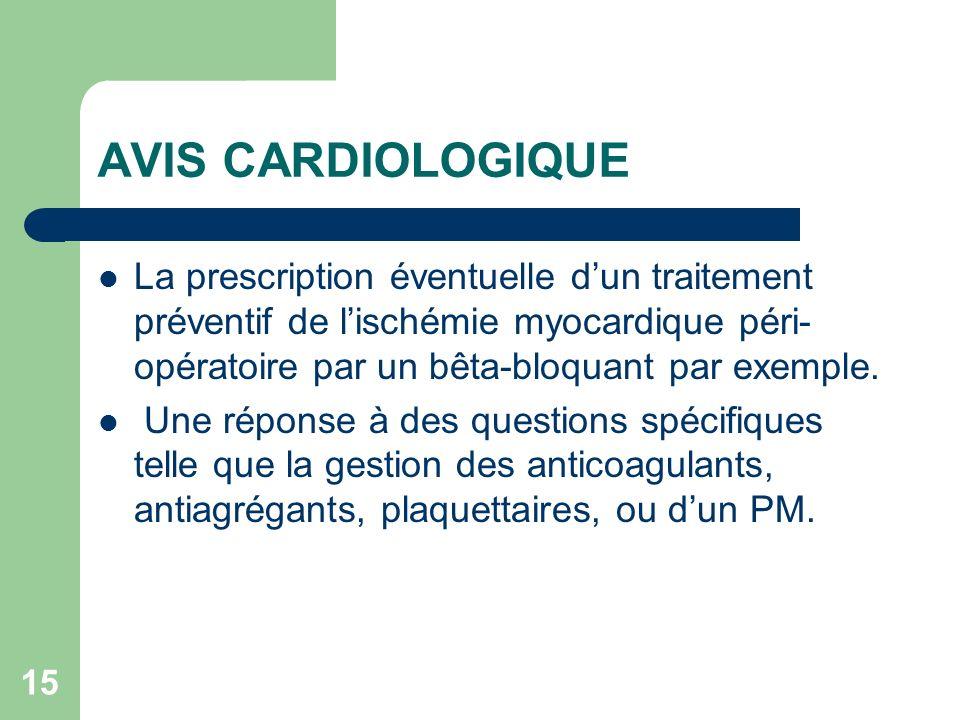 15 AVIS CARDIOLOGIQUE La prescription éventuelle dun traitement préventif de lischémie myocardique péri- opératoire par un bêta-bloquant par exemple.